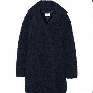 Sandro Paris Navy Fur Teddy Cocoon Coat FR1 US 2 4